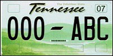 State of TN plate