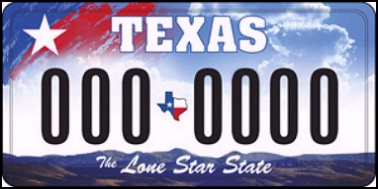 State of TX plate
