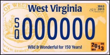State of WV plate