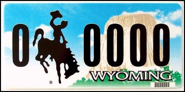 State of WY plate